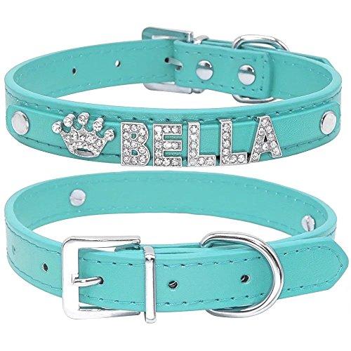Collar de perro de Berry, de piel sintética, suave, letras y abalorios con cristales de imitación, para perros pequeños y medianos, personalizable azul, XS(Neck 8-10.5')