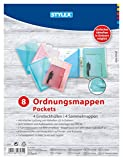 Stylex 43574 - Ordnungsmappen-Set 8-teilig, in 4 verschiedenen Farben transparent, blau, rot & grün