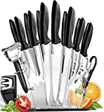 Home Hero Chef Knife Set Knives Kitchen Set Stainless Steel Kitchen Knives Set Kitchen Knife Set with Knife Block, Professional Knife Sharpener 17 Piece Set (Stainless Steel Blades)