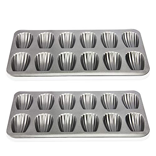 Madeleine Pan, OAMCEG 2 Pack 12 Cavity Heavy Duty Shell Shape Baking Cookie/Cake Nonstick Mold Pan for Oven Baking