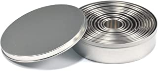 12 Pcs Stainless Steel Round Cookie Biscuit Cutter Baking Metal Ring Molds for Dough Fondant Donut Muffins Cookies