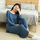 FYMIJJ Conjunto de Pijama,Size Home Suits Women Autumn New Loose Long-Sleeved Pajamas Two-Piece Set Nine-Point Wide Leg Pants Pijama Sleepwear Femme,Blue,XXXL (65,85KG)