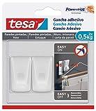 Tesa Gancio adesivo per carta da parati e intonaco, gancio autoad, ideale per mont, di ghirlande e luci, fino a 0.5 kg per gancio, non lascia tracce, bianco