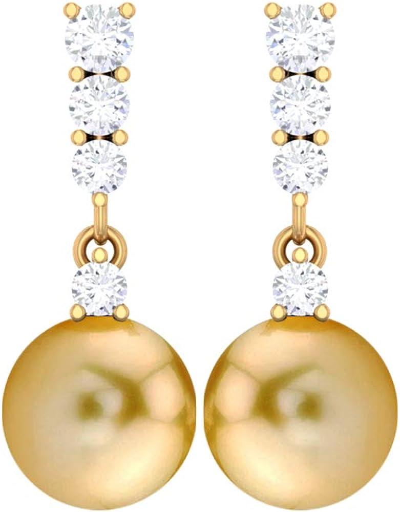 Vintage Wedding Earring, HI-SI 0.34 CT Round Diamond Earring, 9 CT 8 MM South Sea Pearl Drop Earring, Statement Earring, Bridesmaid Earring, Screw back