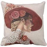 JONINOT Doble Cojines Fundas 18' Elegante Sombrero Victoriano de Lady Art con Rosas Florales Funda de Almohada Suave para la Piel