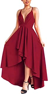 WENOVL Casual Dresses for Women,Womens Backless V Neck Party Asymmetry Dress Cocktail Prom Bridesmaid Gown Dress