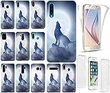 KX-Mobile - Carcasa para teléfono móvil, diseño 1123, lobo, luna, azul y blanco, funda de silicona de gran calidad, 360 grados, para móvil