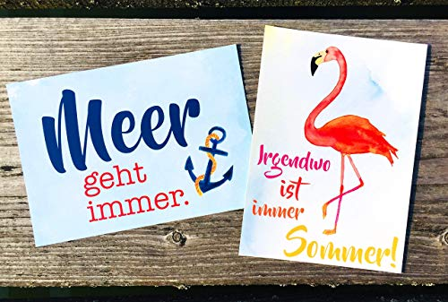 Meer geht immer und Flamingo Postkarten Set 2 Stück AnneSvea postcard Urlaubsgrüße Camper Bus Wohnmobil Wohnwagen Van Adventskalender Befüllung Deko