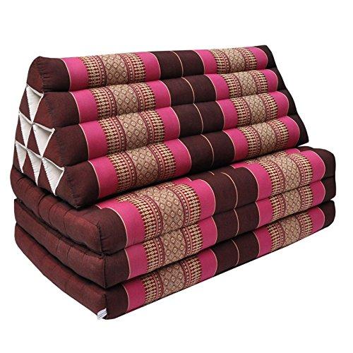 wifash Thaikissen Kapok Bodenkissen Dreieckskissen Rollmatte Liegematte Sitzkissen Lounge ***Bordeaux-pink*** Verschiedene Modelle und Größen erhältlich***Handmade*** (Kissen 3 Auflagen XXL (81418))