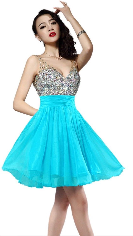 Dearta Women's ALine VNeck Sleeveless Mini Short Homecoming Dresses