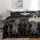 BH-JJSMGS Marmor-Muster, leichte Polyester-Mikrofaser-Bettbezug 200 * 200cm dreiteilig schwarz
