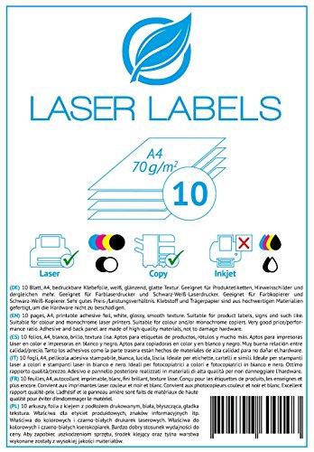 10 Blatt, A4, bedruckbare Klebefolie, weiß, glänzend/geeignet für Produktetiketten, Hinweisschilder. / für Laserdrucker und Kopierer