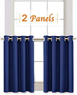 RYB HOME Living Room Blackout Curtain Tiers for Kitchen Window, Privacy Protected Panels for Nursery, Room Darkening Drapes for Laundry, 52 inch Wide x 36 inch Long per Panel, Navy Blue, 1 Pair