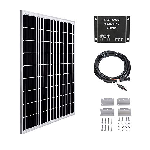 Betop-camp 100W 12V Solarpanel Kit-100W Solarpanel + 10A LCD-Laderegler + 3m Adapterkabel + Montagehalterung