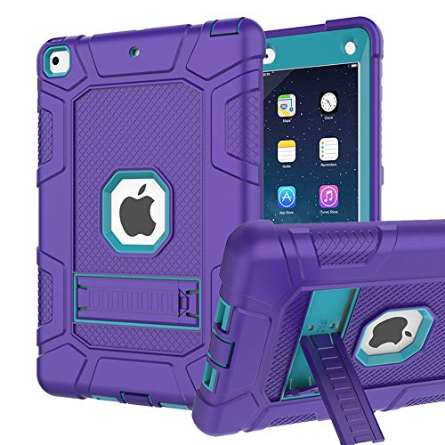 iPad 6th Generation Cases, iPad 2018 Case, iPad 9.7 Inch Case, Hybrid Shockproof Rugged Drop Protection Cover Built With Kickstand for New iPad 9.7 inch A1893 / A1954 / A1822 / A182 (Purple+Dark blue)