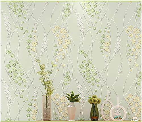 3D Papel Pintado Florete Idílico No Tejido Papel Pintado Verde Para Decoración De Pared De Dormitorio Y Hogar, Papel Pintado Minimalista De Lujo 0.53Mx9.5M