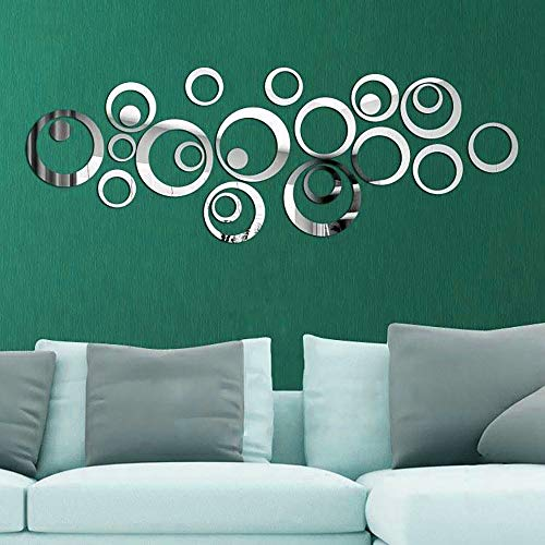Mural 3D Mirror Wall Stickers,Removable Wall Sticker Decal Acrylic Mirror Setting,Wall Art Stickers for Living Room Bedroom Decor(Silver)