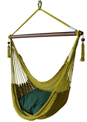 Caribbean Hammocks Chair with Footrest - 40 inch - Soft-Spun Polyester - (Black)