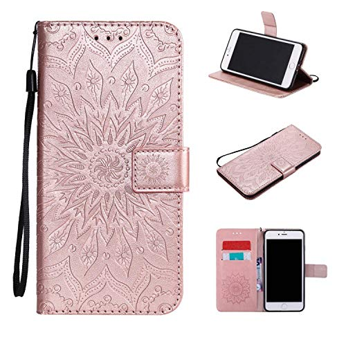 Für Sony Xperia M2 Hülle, Leder Wallet Schutzhülle Case Cover für Sony Xperia M2 [Rose Gold]