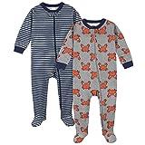 Gerber Baby Boys' 2-Pack Footed Pajamas, Grey Crab, 12 Months