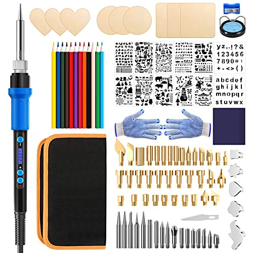 Wood Burning Kit 110PCS, 60W Pyrography Pen Kit, Soldering Iron Pen, Carbon Papers, Pencils, Stand with Sponge, Wood Engraving Craft Kit for Carving/Soldering/Engraving, Adjustable Temperature