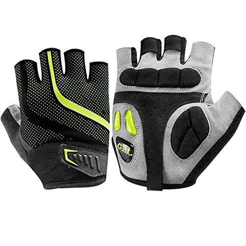 Men's Bicycle Gloves Half Finger Gel Pad Shock Absorber Mountain Bike Gloves Non-Slip Road Bike Gloves Breathable Sports Gloves (Color : Green, Size : 1XL)