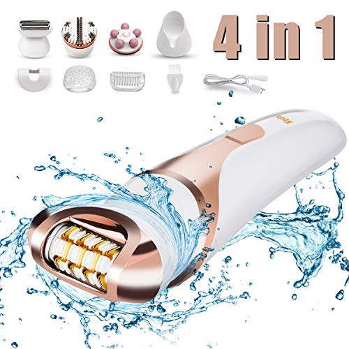 Epilator for Women,Hizek 4 in 1 Cordless Wet & Dry Electronic Hair Removal,Including Lady Shaver,Body Exfoliation Brush and Body Massager for Arm,Armpit,Bikini Line, Leg,Back