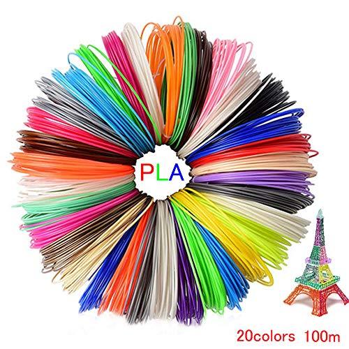3D Pen Filament Refills,3D Filament PLA 1.75mm,20 Colors Each Color 16.4 Feet Total 328 Feet,No Smells Filament for Most Intelligent 3D Pen and 3D Printer