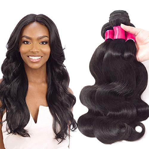 VRVOGUE 3 Bundles Body Wave Brazilian Hair Bundles For Human Hair Bob Wig Body Wave (12' 14' 16' -Natural Black-300g/Lot) 100% Unprocessed Brazilian Virgin Human Hair Weave Bundles Extensions