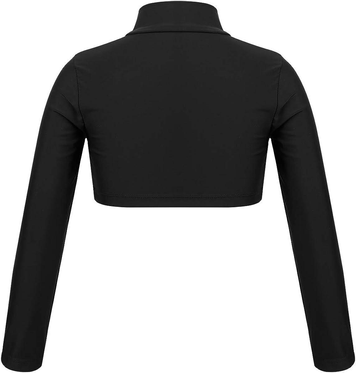 Hansber Kids Girls Crop Tops T-Shirt Mock Neck Long Sleeve Shirt for Jazz Dance Gymnastics Stage Performance