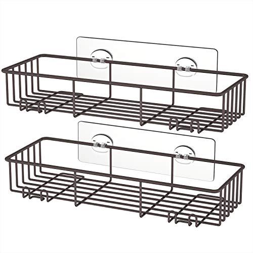 SMARTAKE 2-Pack Shower Caddy, Rustproof Bathroom Shelf Organizer with Hooks for Hanging Razor Sponge Brush, SUS304 Stainless Steel Wall Rack for Dorm, Toilet, Bath and Kitchen, Bronze