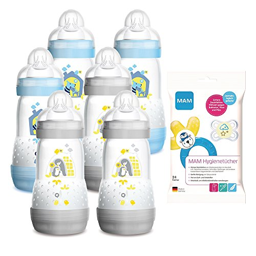 MAM Anti Colic Flasche 260 ml 6er Pack Boys inkl. Sauger Größe 1 ab Geburt + Gratis