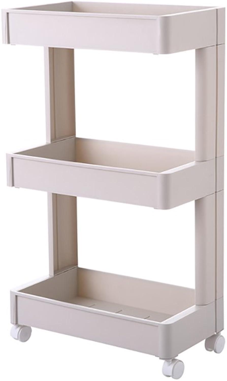 Yxsd Multi-Layer Plastic Floor Stand Racks,Bathroom Bathroom Kitchen Shelves with Wheels, Removable (Size   3 Tier)