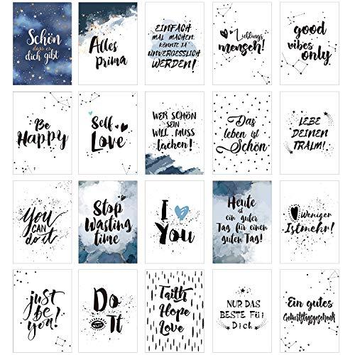 20 Postkarten im Set, Postkartenset mit Sprüchen und Zitaten zum Schönen Thema Motivation, Achtsamkeit, Selbstliebe, Lebensliebe Glück, Freundschaft, Leben,Geburtstags Grußkarten