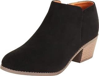 Cambridge Select Women's Classic Western Almond Toe Chunky Block Low Heel Shootie Ankle Bootie