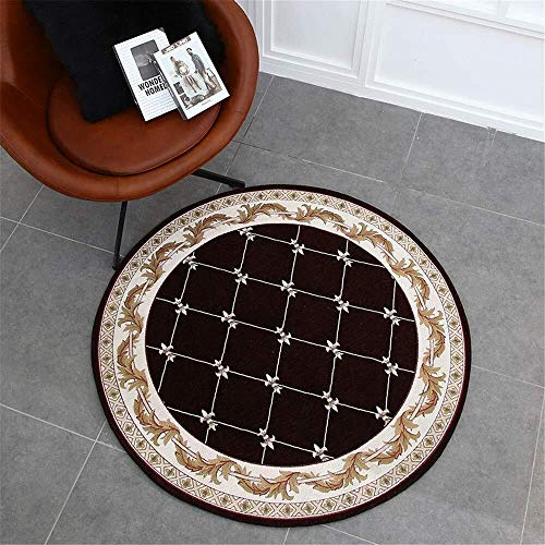 Alfombra felpudo, dos mesa redonda pastoral salón tapetes alfombra estudio guardarropa entrada silla Europea ordenador cojín redondo (Color : C4, Size : 1.0m)