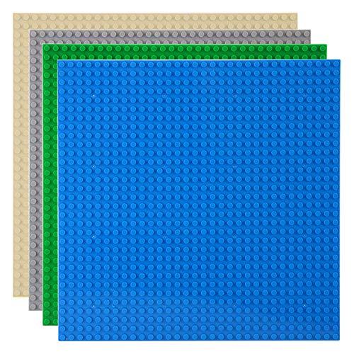Celawork Bauplatte für Classic Bausteine,Grundplatte,Kompatibel mit Allen gängigen Marken, 25.5*25.5cm Platten-Set für Kreatives Spielen, Lernspielzeug (4pcs (Blau,Grau,Grün,Sand))