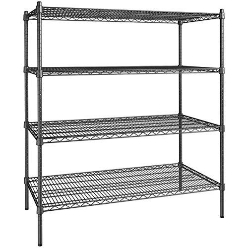 24 inch x 48 inch Certified Black Epoxy 4 Shelf Kit with 54 inch Posts. Storage Shelf. Garage Storage Shelves. Shelving Units and Storage. Food Storage Shelf. Storage Rack. Bakers Racks