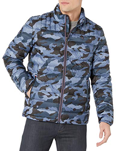 Tommy Hilfiger mens Real Down Insulated Packable Puffer Jacket, Blue Camo, Medium