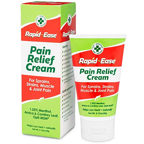 RAPID-EASE Pain Relief Cream 2.12oz 60g| Best Natural Pain Relief | Muscle & Joint Pain Arthritis Back Knee Pain Sciatica |Fast Easy Safe| No Side Effect or NSAID Risks| OTC & Arnica MSM DMSO Comfrey
