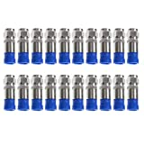 TENINYU RG6 F Type Connector Coax Coaxial Compression Fitting 20Pack (Blue)