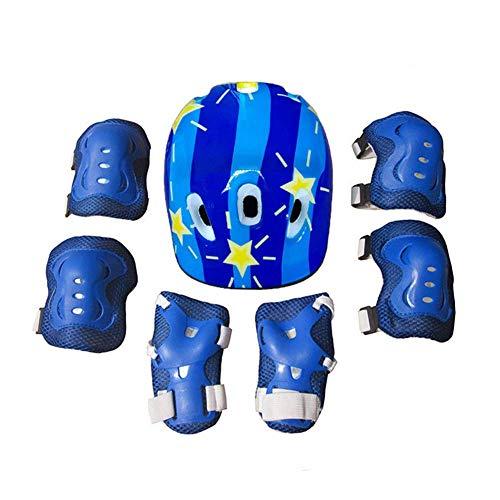 Klappbarer Tretroller, Schutzhelm Knie-Ellbogenschützer-Sets 7-teilig/Set Kinder Jungen Mädchen Kinder Radfahren Skate Fahrradhelm Schutzschutz