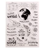 Hinleise Transparenter Silikon-Stempelbogen – Erde durchsichtiger Siegel-Prägestempel für Kartenherstellung, Scrapbooking, Dekoration, Wörter, Tagebuch, DIY Album (C)