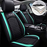 Maidao Car Seat Covers for Hyundai Santa Fe Sport Durable Comfort Leatherette Seat Cushions (Airbag Compatible) Front and Rear Seats Covers Black Green