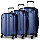 Kono 3pcs <span class='highlight'>Luggage</span> Sets Travel Trolley Case <span class='highlight'>Hard</span> Shell ABS Light Weight Suitcase with 4 Spinner Wheel Fashion <span class='highlight'>Luggage</span> for Business Holiday (Navy Set)