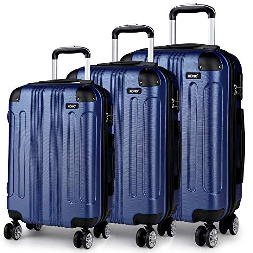 Kono 3pcs Luggage Sets Travel Trolley Case Hard Shell ABS Light Weight Suitcase with 4 Spinner Wheel Fashion Luggage for Business Holiday (Navy Set)