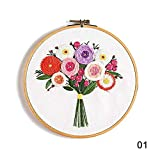 DIY bordado flor trabajo hecho a mano costura para principiante kit de punto de cruz cinta pintura bordado aro decoración del hogar, B