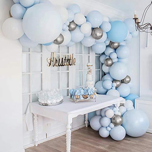 Guirnalda de Globos Azules, BIRLON 96 Piezas Arco Guirnalda para Globos Cumpleaños Decoración Azules y Blancos Plata Látex Globos Arco para Bautizo Baby Shower Boda Cumpleaños Fiesta Decoración