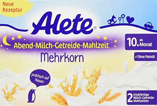 Alete Abend-Milch-Getreide-Mahlzeit Mehrkorn, praktisch für zuhause & unterwegs, mit viel Calcium, Vitamin C & Zink, ohne Palmöl, ab dem 10. Monat, 400 ml, 84505