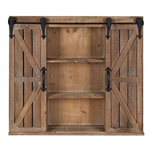 Rustic Storage Cabinet with Sliding Brown Doors